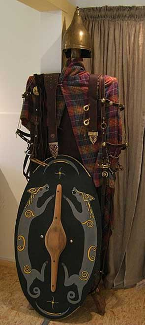 Reconstruction of the dress and equipment of an Iron Age Celtic warrior from Biebertal, Germany.
