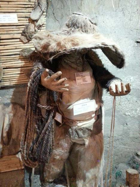 Reconstruction of the llama skin clothing which may have been worn by a previous inhabitant of Cochasquí. (Alicia McDermott)