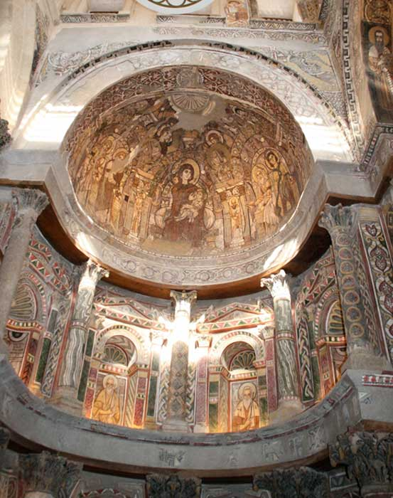 "North Apse of the Red Monastery Church. Late antique portraits of the Shenoute Federation's four ""founding fathers"" in niches below the semidome painting of the Nursing Virgin. Credit: Schroeder. With appreciation to Dr. Elizabeth Bolman"