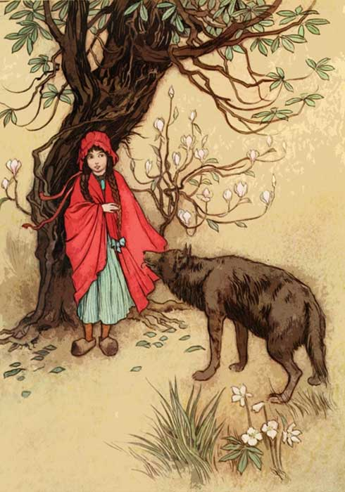 Red Riding Hood and the wolf.