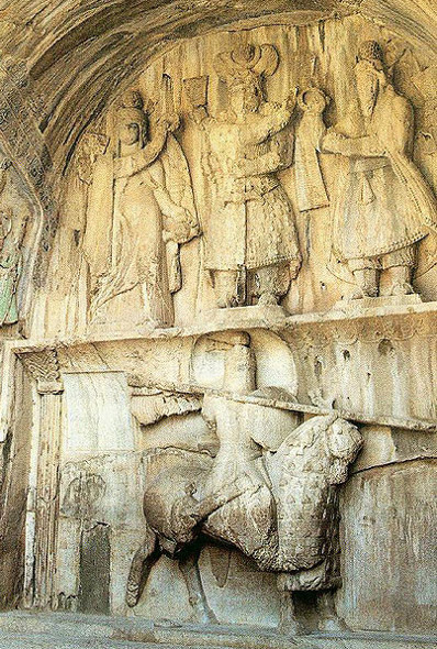 Relief Taq-e Bostan (Kermanshah Province in Iran) from the era of Sassanid Empire: One of the oldest depictions of a cataphract.