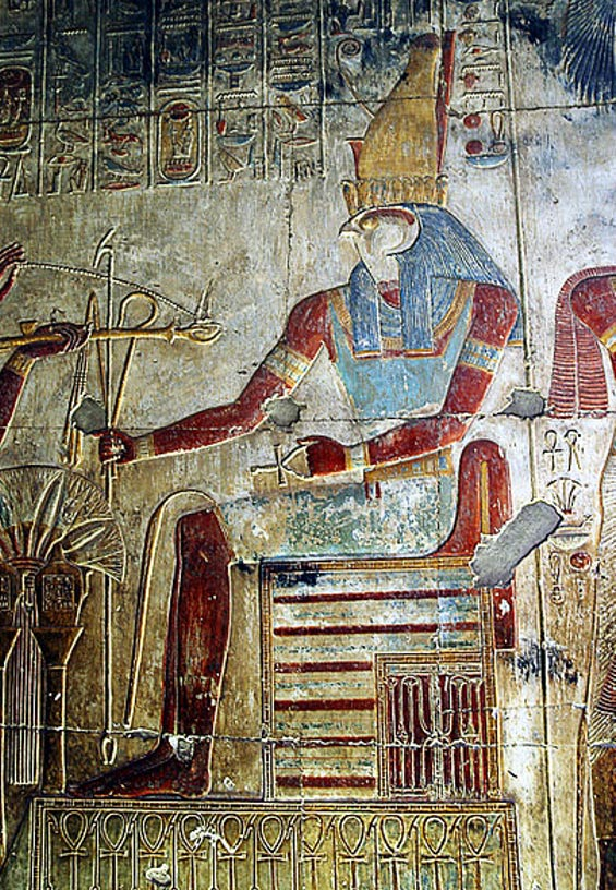 Relief of Horus in the temple of Seti I in Abydos.