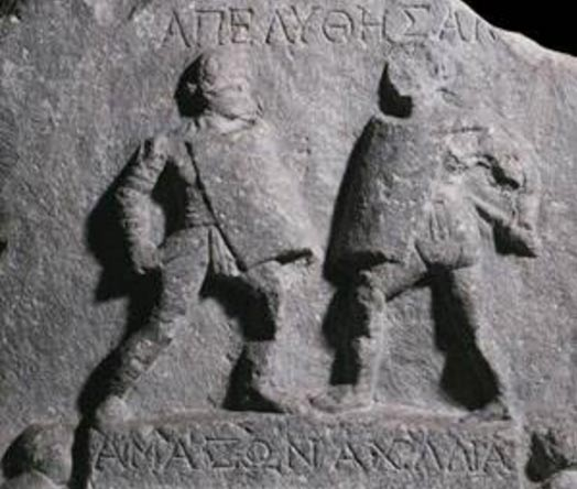 Relief of two gladiatrices found at Halicarnassus