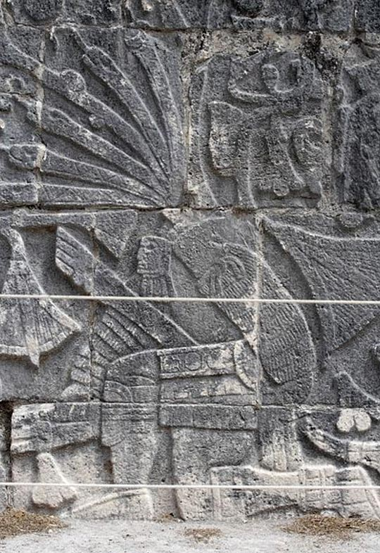 Relief sculpture from the Great Ballcourt at Chichen Itza, depicting a decapitated ballplayer.
