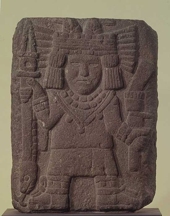 Relief with Maize Goddess (Chicomecóatl). (Brooklyn Museum)