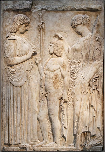 Relief representing Demeter, Kore-Persephone and Triptolemus from the Eleusinian mystery school. (National Archaeological Museum of Athens / CC BY-SA 3.0)