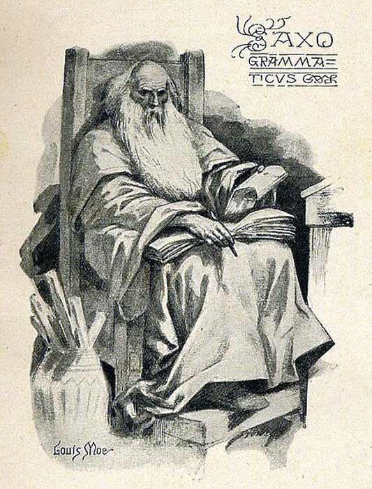 Representation of Saxo Grammaticus later in life, drawn by the Norwegian illustrator Louis Moe. (Public Domain)