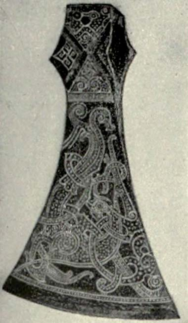Reproduction of an axe inlaid with silver, from Denmark (Viking Age).