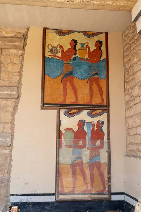 Restored frescoes at Knossos palace. Credit: Ioannis Syrigos