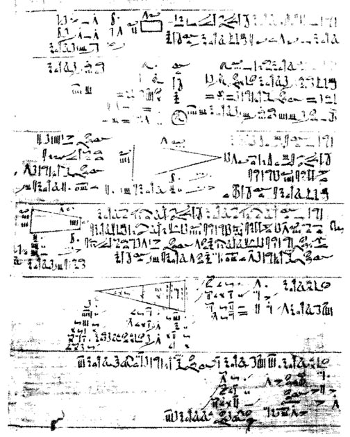 Rhind papyrus displaying Egyptian mathematics. (Luestling~commonswiki / Public Domain)