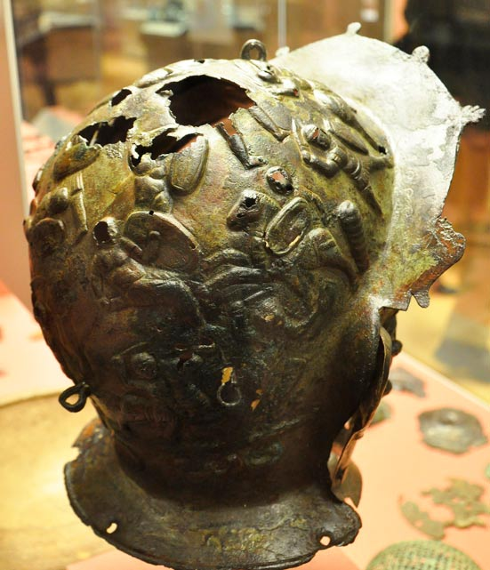 Ribchester cavalry sports helmet viewed at British Museum, London.