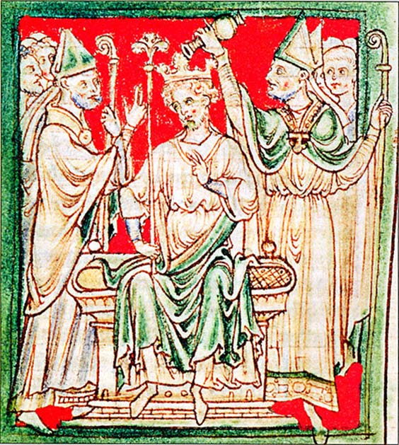 Richard the Lionheart, Richard I of England, being anointed during his coronation in Westminster Abbey.