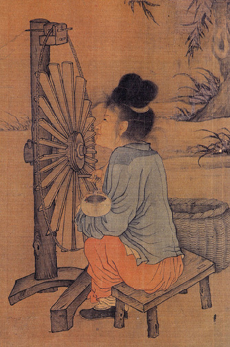 Right half of the Chinese artist Wang Juzheng's handscroll The Spinning Wheel  (Public Domain)