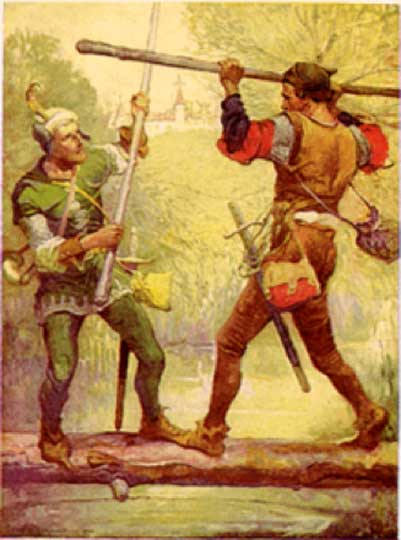 """Robin Hood and Little John"", Illustration by Louis Rhead"