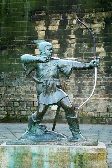 A statue of Robin Hood at a castle in Nottinghamshire, where the legendary robber was an outlaw in Sherwood Forest.