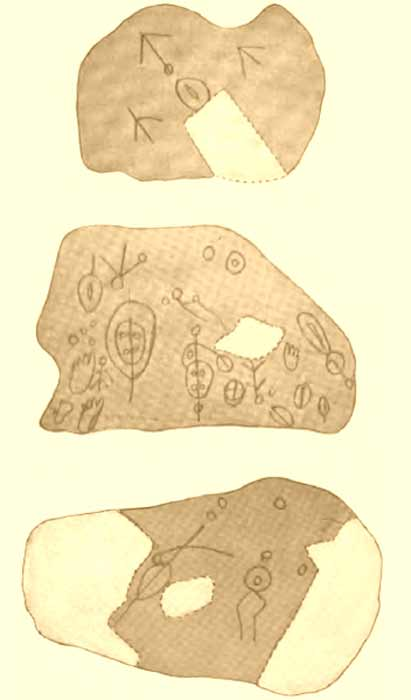 Track Rock Gap sketches by James Mooney from 1889. The dashed lines indicate portions of the rock which have been removed by relic hunters. (James Mooney / Public domain)
