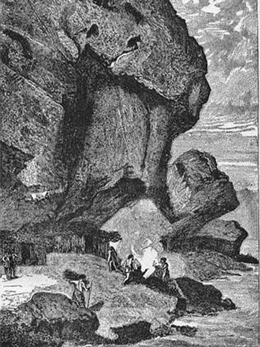 Rock Shelter, Bruniquel. Antique wood engraved print. Date of printing 1890.