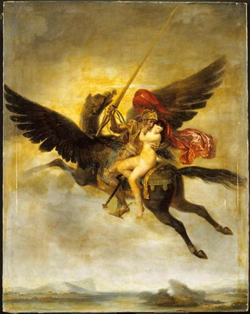 Roger délivrant Angélique (1824) by Louis-Édouard Rioult depicts the scene of Orlando Furioso where Ruggiero rescues Angelique while riding on a hippogriff.