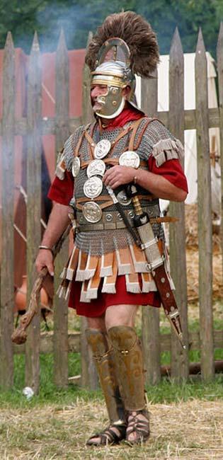 Roman Centurion reenactor with crested helmet.
