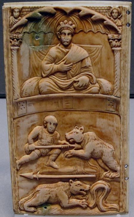 Carving showing a Roman Emperor presiding over gladiatorial games