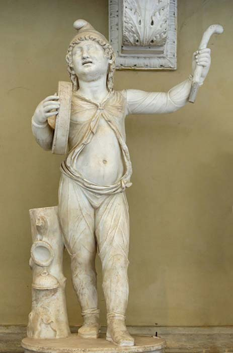 Roman Imperial Attis wearing a Phrygian cap and performing a cult dance.
