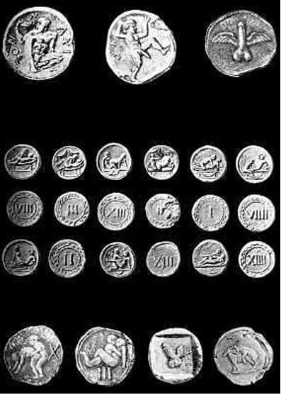 "19th century engraving of ""Spintriae"" (Roman brothel tokens) purportedly found in Pompeii."