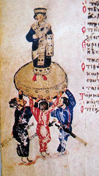 Roman custom of proclamation of emperor on the shield. King Hezekiah. From Chludov Psalter.