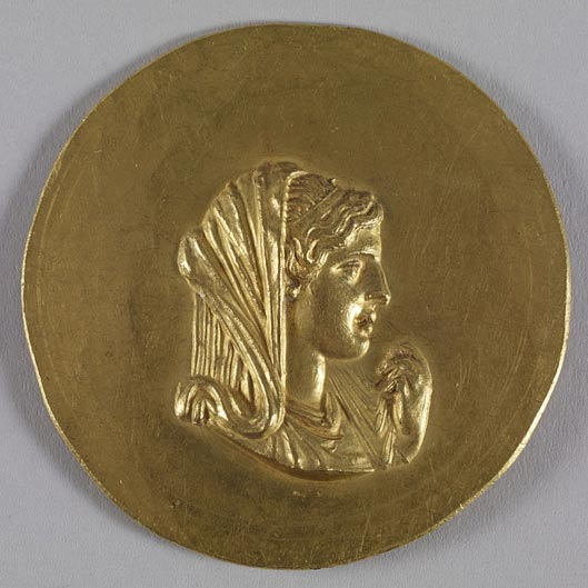 Imperial Roman gold medallion depicting Olympias, mother of Alexander the Great