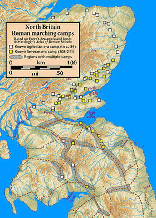 Roman marching camps in North Britain/Scotland. (Notuncurious / CC BY-SA 3.0)