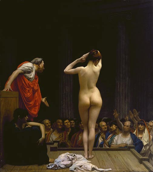 Painting of a Roman slave market, by Jean-Leon Gerome, circa 1884.