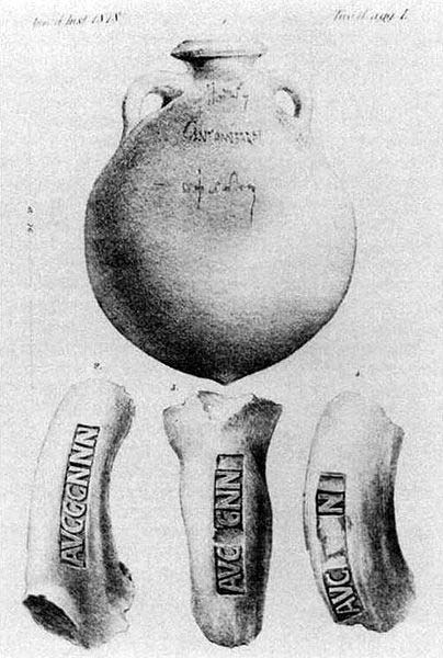 Roman tituli picti from amphorae found at Monte Testaccio, Rome. From H. Dressel, Ricerche sul Monte Testaccio, Annali dell'Instituto di Correspondenza Archeologica [1878], plate L. (Public Domain)