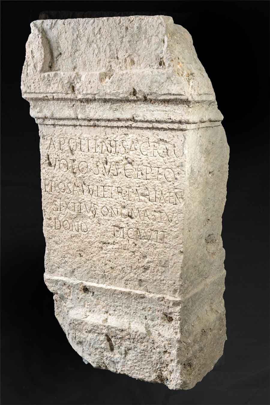 The Roman inscription found at the Apollo sanctuary at San Casciano dei Bagni. (Municipality of San Casciano dei Bagni)