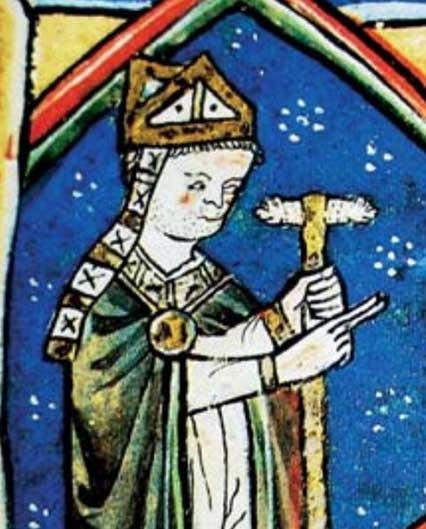 Romanesque Medieval Miniature of Didacus Gelmirici (Diego Gelmirez), from the illuminated manuscript of the Tumbo de Toxosoutos (Galicia), 13th century.