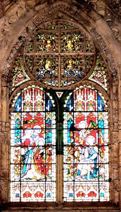 Rosslyn Chapel's Victorian east window is a geometric puzzle encoding information about the building's architecture.  (Image: Ashley Cowie)