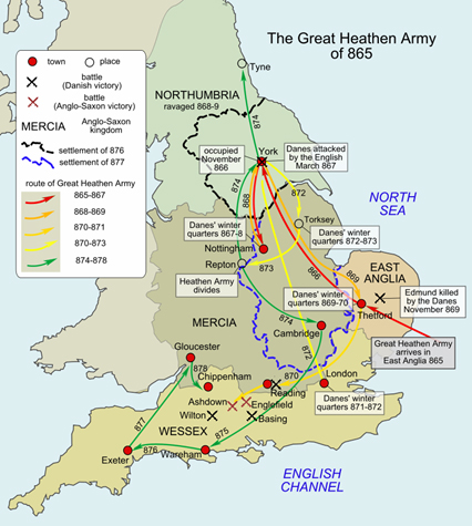 Routes by the Great Heathen Army from 865 to 878
