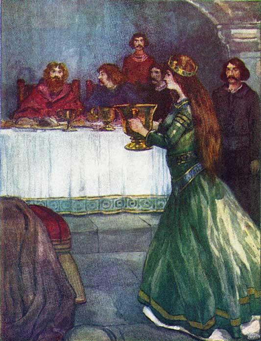 Rowena wassails King Vortigern. (Public Domain)