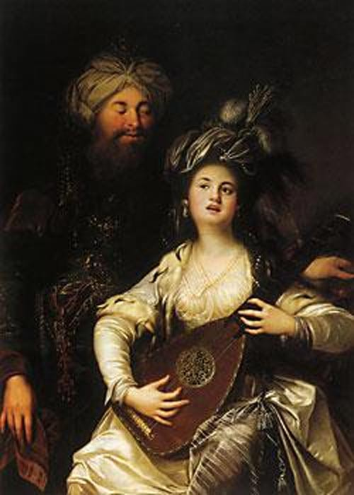 Roxelana (Hurrem Sultan) and Suleiman the Magnificent by the German baroque painter Anton Hickel, (1780).