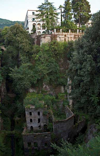Ruins of an abandoned mill, located in a canyon in Sorrento known as the 'valley of the mills', Italy.