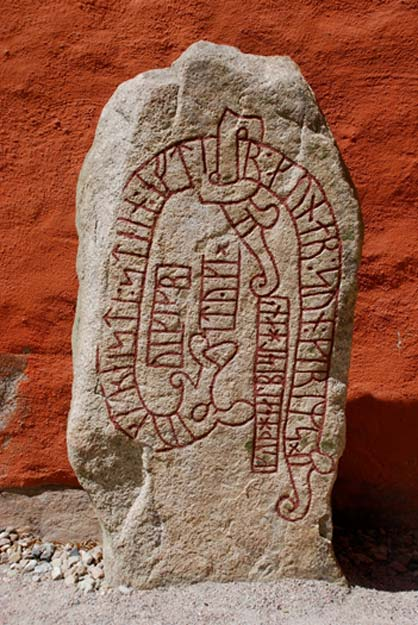 "Runestone Sm10 behind Växjö cathedral. It reads:""Tyke - Tyke Viking - erected this stone in memory of Gunnar, Grim's son. May God help his soul."""