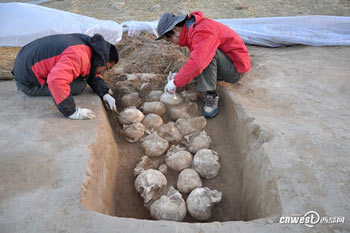 One of the pits of skulls unearthed last year