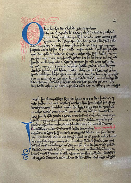 Part of a 13th Century copy of the Saga of Erik the Red.