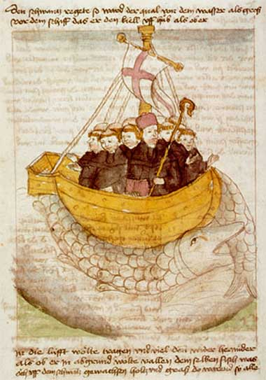 Saint Brendan and the whale from a 15th-century manuscript.