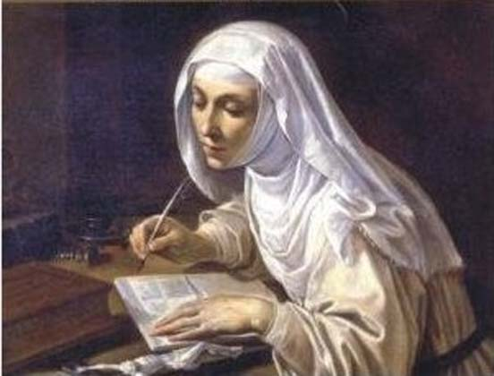 Painting titled 'Saint Catherine of Siena writing' (1630s) by Rutilio di Lorenzo Manetti.