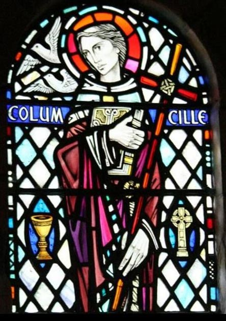 Saint Columba shown in a stained glass window at Iona Abbey, Scotland.