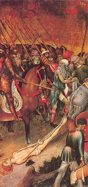 Saint George dragged through the streets of Diospolis, by Bernat Martorell, 15th century.