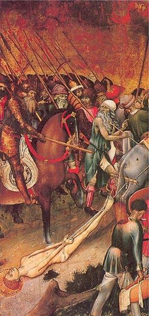 Saint George dragged through the streets of Diospolis, by Bernat Martorell, 15th century.