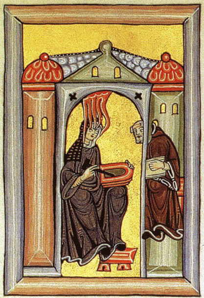 Saint Hildegard in her meditation cell