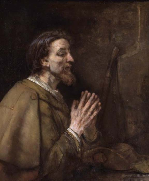Saint James the Elder by Rembrandt He is depicted clothed as a pilgrim; note the scallop shell on his shoulder and his staff and pilgrim's hat beside him.