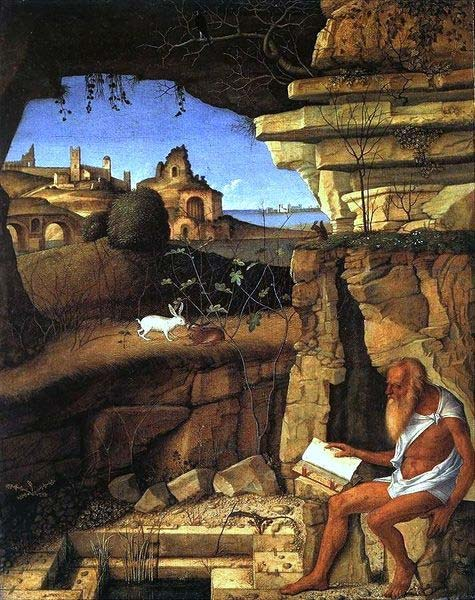 'Saint Jerome Reading in the Countryside' (1505) by Giovanni Bellini. (Public Domain)