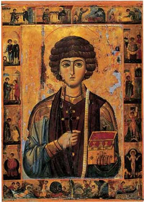 13th Century Icon of Saint Panteleimon (Pantaleon).